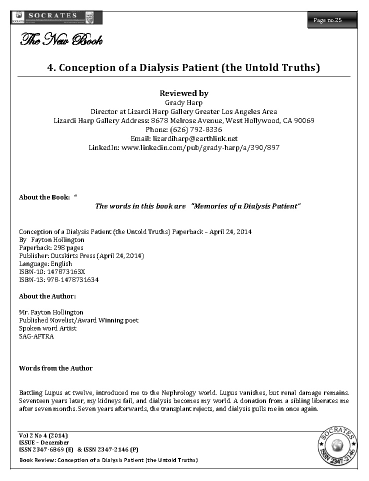 Conception of a Dialysis Patient (the Untold Truths)