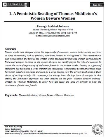 A Feministic Reading of Thomas Middleton's Women Beware Women