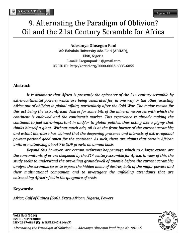 Alternating the Paradigm of Oblivion? Oil and the 21st Century Scramble for Africa