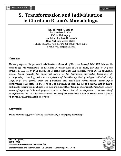 Transformation and Individuation in Giordano Bruno's Monadology