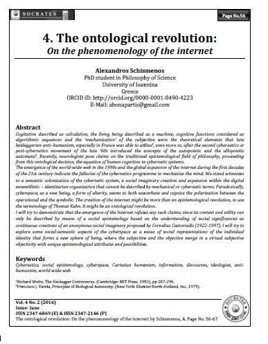 The ontological revolution: On the phenomenology of the internet