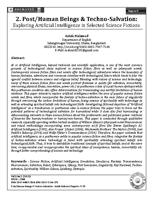 Post/Human Beings & Techno-Salvation: Exploring Artificial Intelligence in Selected Science Fictions