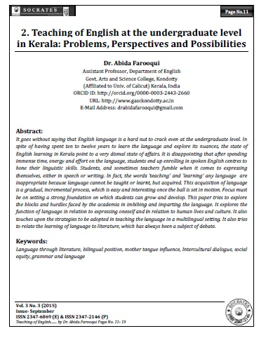 Teaching of English at the undergraduate level in Kerala: Problems, Perspectives and Possibilities