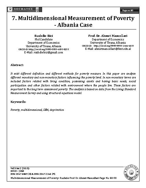 Multidimensional Measurement of Poverty - Albania Case