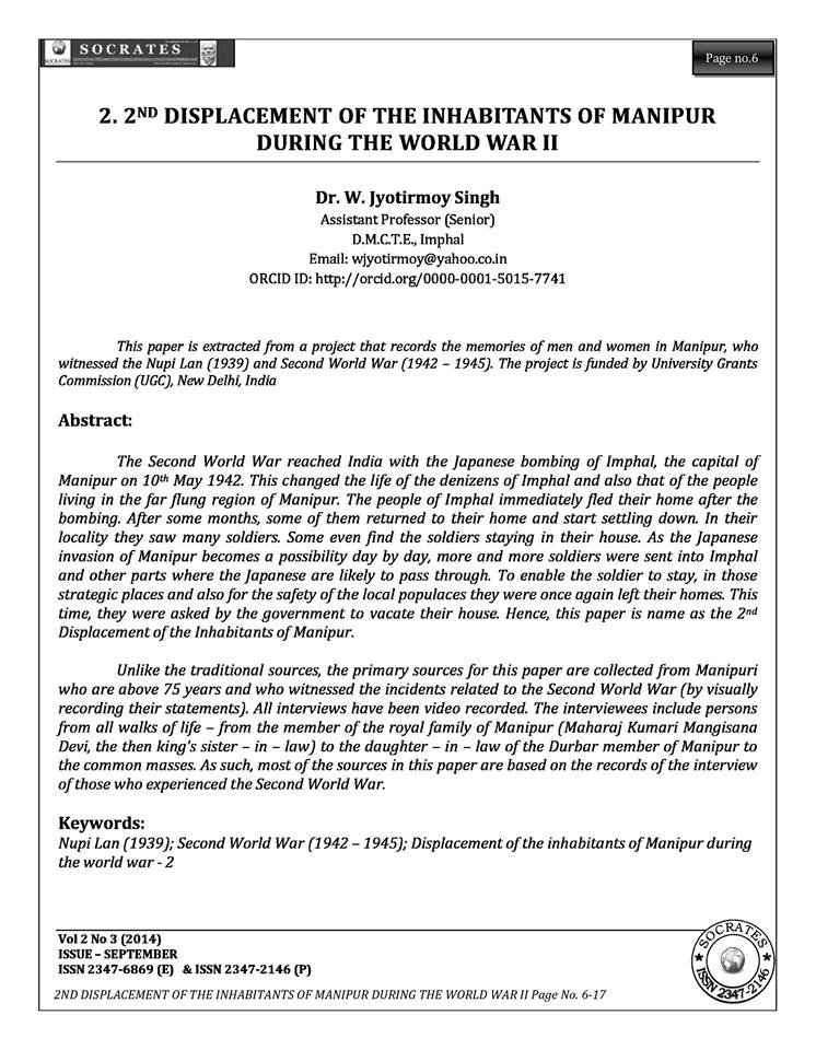 2nd displacement of the inhabitants of manipur during the world war II