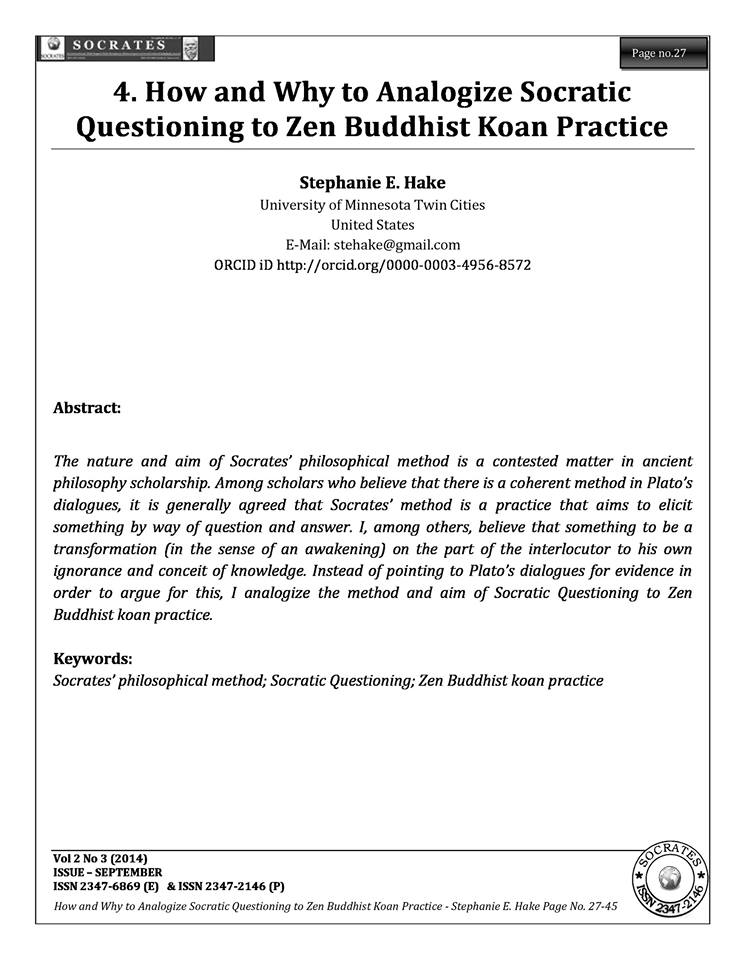 How and Why to Analogize Socratic Questioning to Zen Buddhist Koan Practice