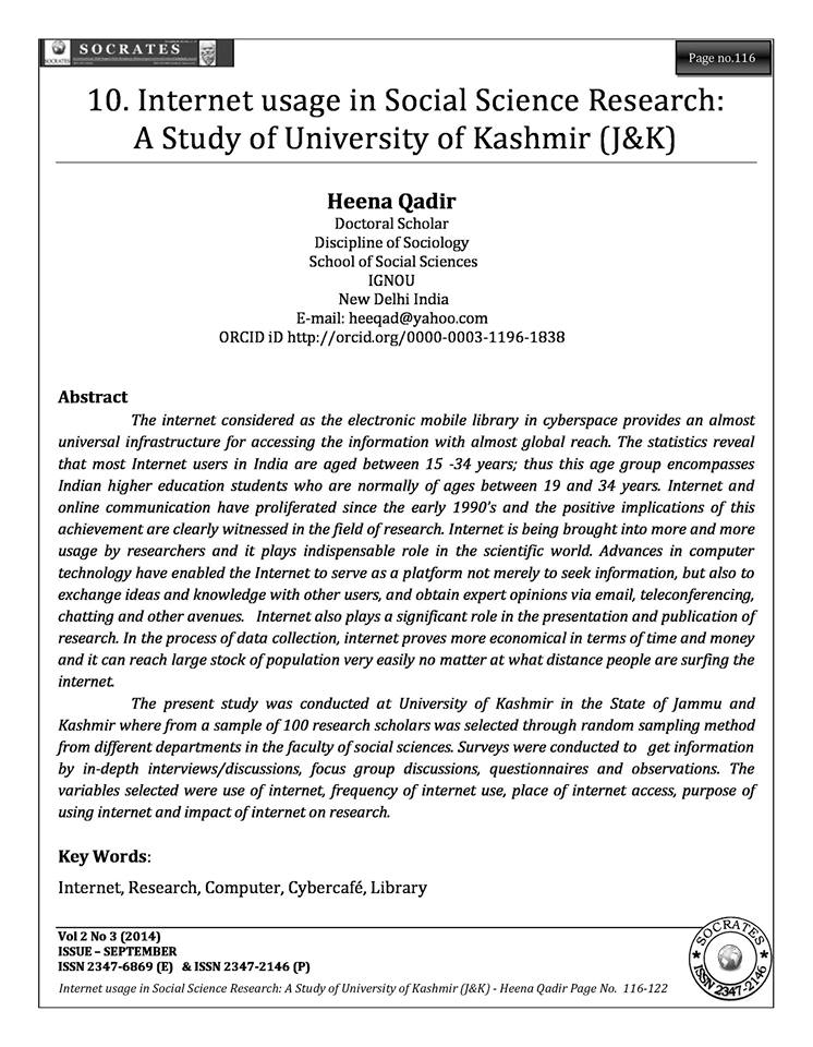 Internet usage in Social Science Research: A Study of University of Kashmir (J&K)