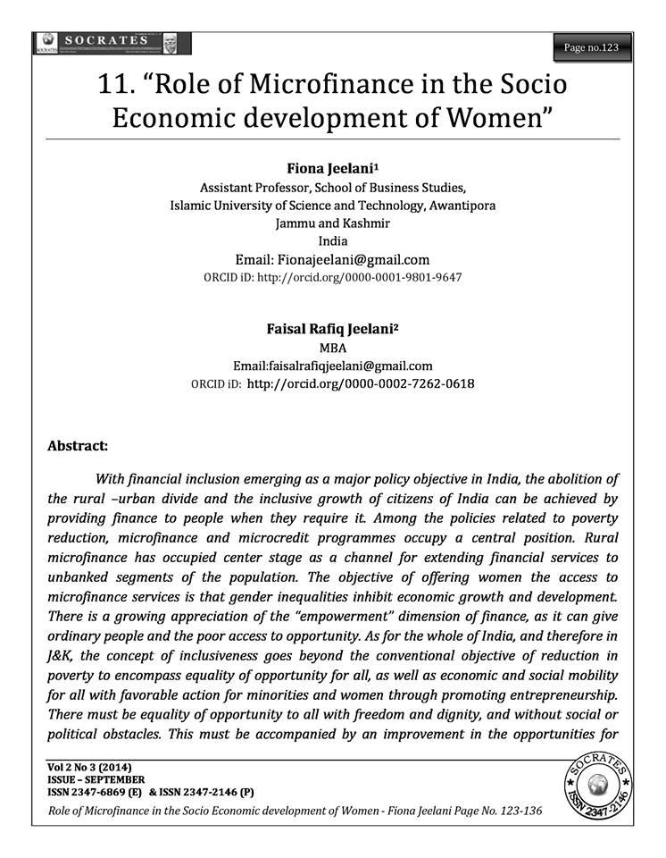 """Role of Microfinance in the Socio Economic development of Women"""