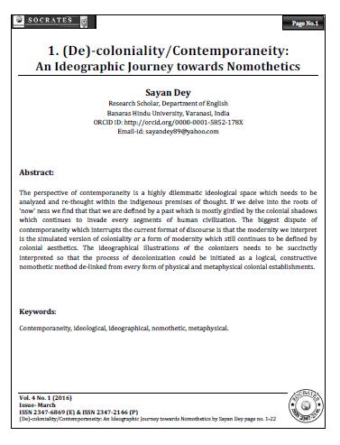 (De)-coloniality/Contemporaneity:  An Ideographic Journey towards Nomothetics