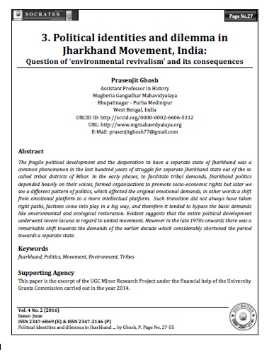 Political identities and dilemma in Jharkhand Movement, India:  Question of 'environmental revivalism' and its consequences