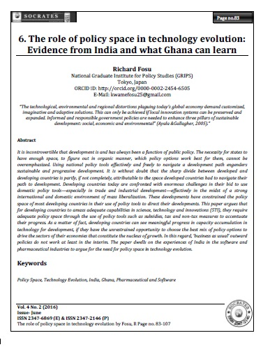 The role of policy space in technology evolution:  Evidence from India and what Ghana can learn