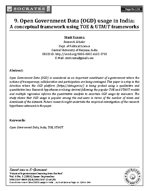 Open Government Data (OGD) usage in India:  A conceptual framework using TOE & UTAUT frameworks