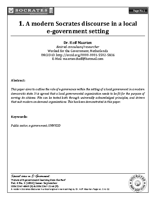 A modern Socrates discourse in a local  e-government setting