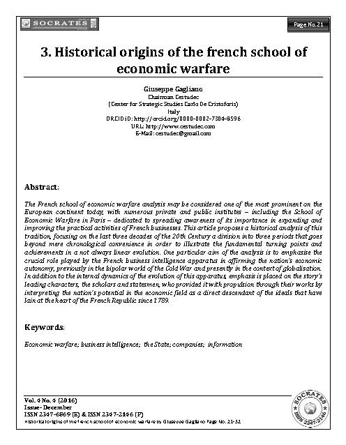 Historical origins of the french school of economic warfare