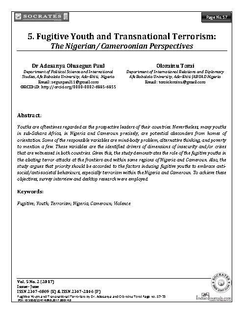 Fugitive Youth and Transnational Terrorism: The Nigerian/ Cameroonian Perspectives