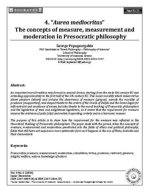 """Aurea mediocritas"" The concepts of measure, measurement and moderation in Presocratic philosophy"