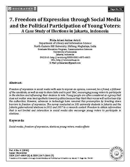 Freedom of Expression through Social Media and the Political Participation of Young Voters: A Case Study of Elections in Jakarta, Indonesia