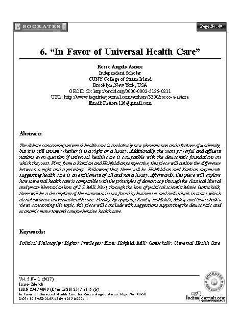 """""""In Favor of Universal Health Care"""""""