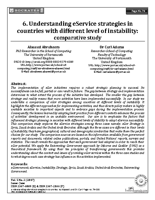 Understanding eService strategies in countries with different level of instability: comparative study