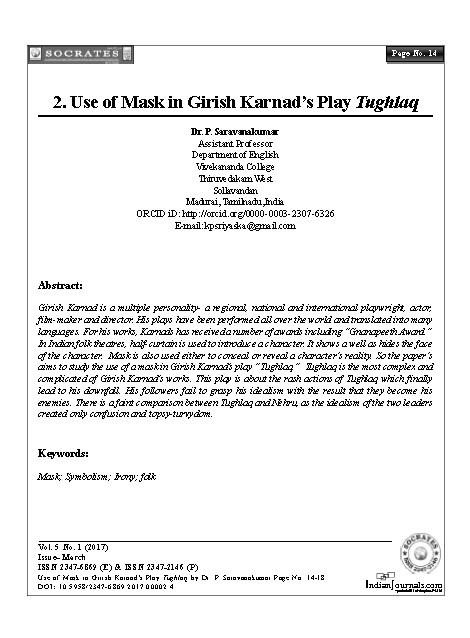 Use of Mask in Girish Karnad's Play Tughlaq