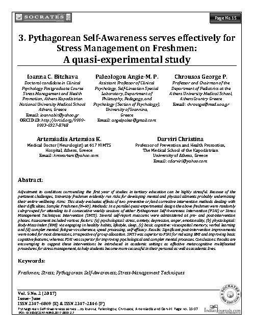 Pythagorean Self-Awareness serves effectively for Stress Management on Freshmen:  A quasi-experimental study