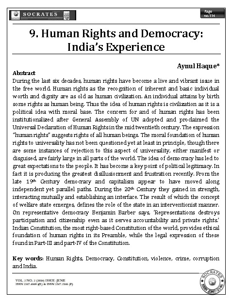 Human Rights and Democracy: India's Experience