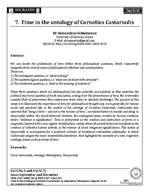 Time in the ontology of Cornelius Castoriadis