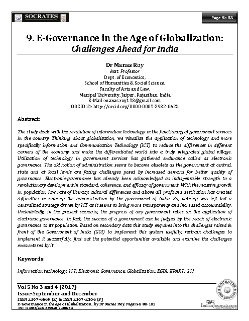 E-Governance in the age of Globalization: Challenges ahead for India