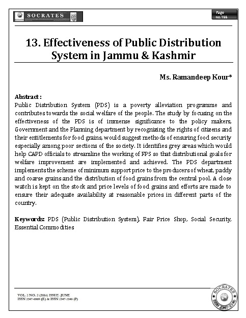 Effectiveness of Public Distribution System in Jammu & Kashmir