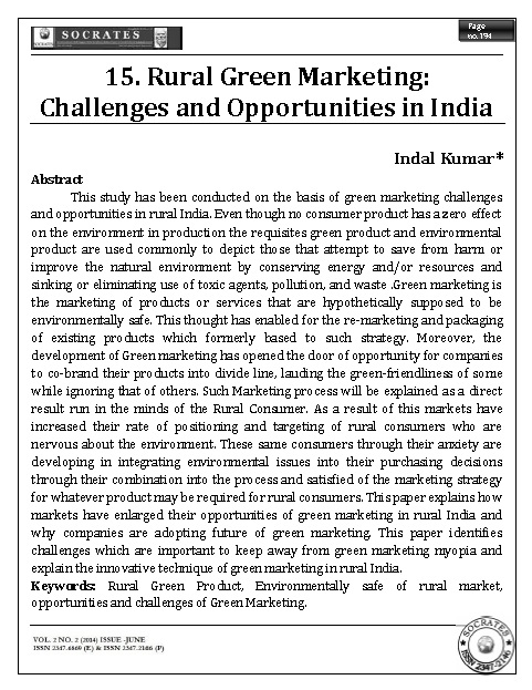 Rural Green Marketing: Challenges and Opportunities in India