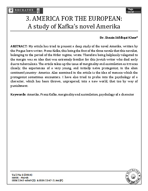 AMERICA FOR THE EUROPEAN: A study of Kafka's novel Amerika