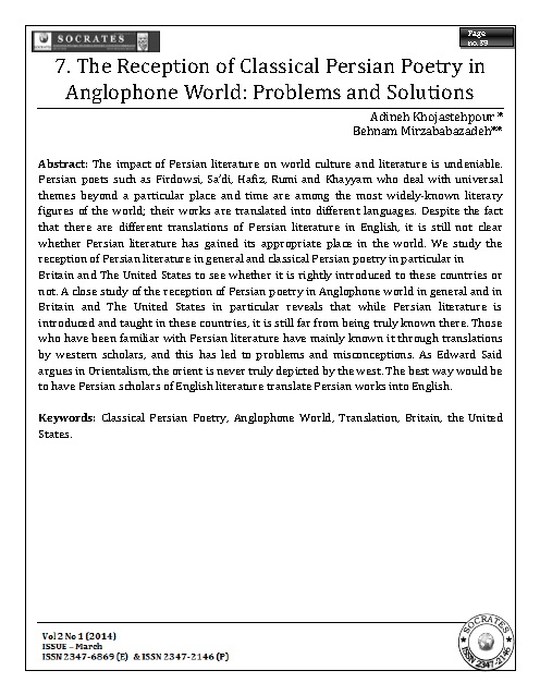 The Reception of Classical Persian Poetry in Anglophone World: Problems and Solutions