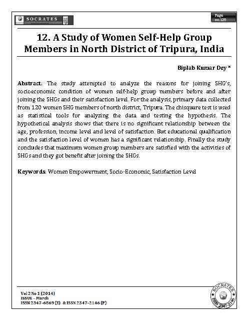A Study of Women Self-Help Group Members in North District of Tripura, India
