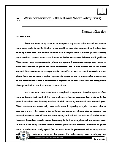 Water conservation & the National Water Policy (2012)