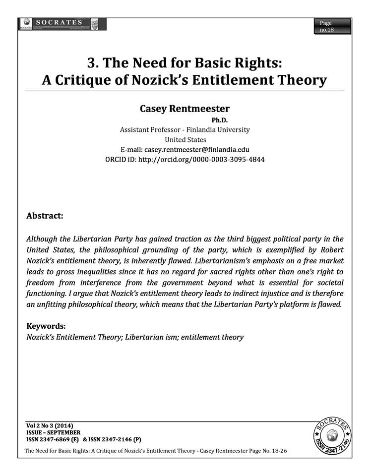 The Need for Basic Rights: A Critique of Nozick's Entitlement Theory